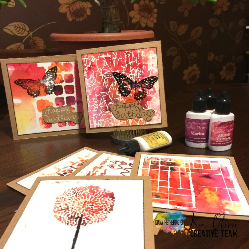 color burst February cards